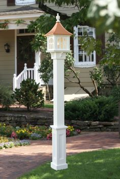 Lamp post with sign love the house too but if i had this lamp post lamp post mailbox idea with a solar light and a flower planter on the back aloadofball Images