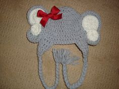 Girl Elephant Crochet Hat with Bow