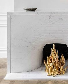 "/ ""Cheminée"", by French designer Mathieu Lehanneur. Marble Fireplaces, Modern Fireplace, Fireplace Mantle, Fireplace Surrounds, Fireplace Design, Cottage Fireplace, Country Fireplace, Craftsman Fireplace, Fireplace Cover"