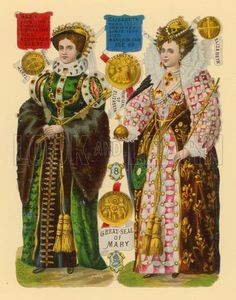 Victorian scrap Queen Mary I and her half-sister and successor, Queen Elizabeth I; daughter of Anne Boleyn. History Of England, Tudor History, British History, Asian History, Los Tudor, Tudor Era, Elisabeth I, Tudor Dynasty, King Henry Viii