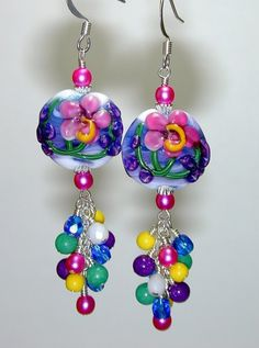 Vivid HIBISCUS Raised FLORAL Lentil HANDMADE Lampwork ART Bead EARRINGS