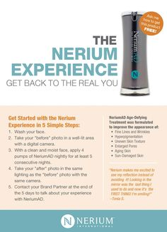 Love this product! Best for fine lines, wrinkles, discoloration, and more! Skin care. Results fast! Day cream, night cream! Brittballenger.nerium.com