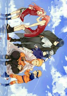 The Team 7 naruto sakura Sasuke anime - Naruto Naruto Team 7, Naruto Shippuden Sasuke, Naruto Kakashi, Fan Art Naruto, Anime Naruto, Naruto Comic, Naruto Sasuke Sakura, Naruto Cute, Team Minato