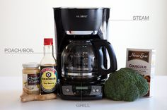The coffee maker contains three cooking methods in one appliance: You can steam in the basket, poach in the carafe and grill on the burner.