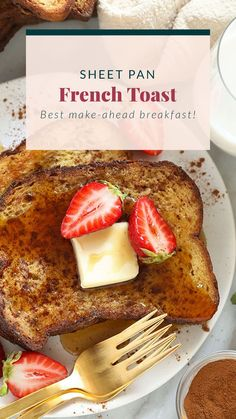 This Sheet Pan French Toast is the answer to your brunch dreams! It's ready to serve in under 30 minutes, and can easily be doubled to serve a crowd. Happy brunching! French Bread French Toast, Banana French Toast, Best French Toast, Cinnamon French Toast, French Toast Bake, Breakfast For Dinner, Breakfast Recipes, Breakfast Ideas, Christmas Breakfast