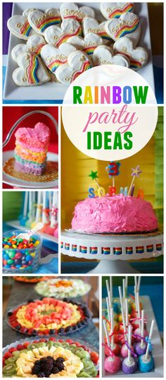 A rainbow themed girl birthday party with colorful party treats and decorations! See more party planning ideas at CatchMyParty.com!