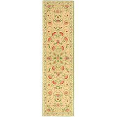Safavieh Hand-hooked Bedford Beige/ Green Wool Runner (2'6 x 12') - Overstock™ Shopping - Great Deals on Safavieh Runner Rugs