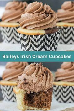 You can't go wrong with Triple Irish Cream Cupcakes. The marbled chocolate and vanilla cupcakes are spiked with Baileys Irish cream cupcake. What's even better, the chocolate ganache filling and the chocolate frosting are also spiked with Baileys! Chocolate Ganache Frosting, Chocolate Shavings, Best Chocolate, Melting Chocolate, Frosting Recipes, Cake Recipes, Baileys Recipes, St Patricks Day Food, Baileys Irish Cream