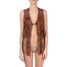 Pin Up Stars Suede embroidered fringed vest ($376) ❤ liked on Polyvore featuring outerwear, vests, marrone, suede fringe vest, vest waistcoat, brown suede vest, brown waistcoat and fringe vest