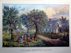 A gallery image of the Currier and Ives print: American Homestead Autumn. Homesteading Blogs, Currier And Ives, Vintage Farm, Vintage Items, Thomas Kinkade, Farm Life, Find Art, Home Art, Giclee Print