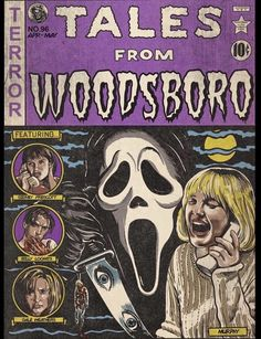 Tales From Woodsboro Print – Theater Of Creeps Disney Movie Posters, Classic Movie Posters, Classic Horror Movies, Horror Cartoon, Horror Comics, Horror Art, Horror Icons, Horror Movie Posters, Horror Films