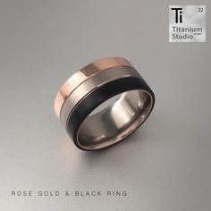 Titanium base ring with black Teflon and rose gold inlays. This ring was made as a durable wedding ring to be worn daily. Wedding Bands, Wedding Ring, Titanium Rings, Black Men, Gold Rings, Rings For Men, Rose Gold, Base, Engagement Rings