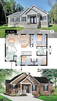 Country affordable house plan bungalow - Small House Plans - Affordable Home Plans - Sims 4 House Plans, Dream House Plans, Small House Plans, Dream Houses, Small Floor Plans, Affordable House Plans, Affordable Housing, Bungalow Floor Plans, Drummond House Plans