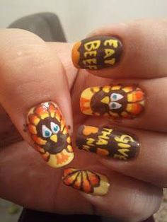 DIY Halloween Nails : Gobble! Gobble! - Pic Heavy