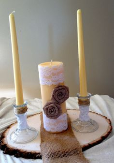Wedding Unity Candle with Burlap and Lace  Complete by RusticLayla, $25.50