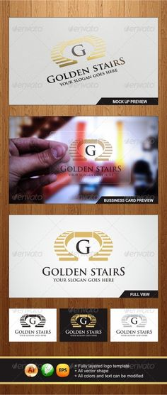 Golden Stairs - Logo Design Template Vector #logotype Download it here: http://graphicriver.net/item/golden-stairs-logo/6033000?s_rank=1208?ref=nesto