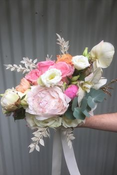 Bridal bouquet of native flowers and wildflowers of protea, roses, eucalyptus, peony, in pink and orange at Manly, Milestone Events by Sydney Wedding Florist, Erichsen Botanica  Photography by Lucie Weddings Bridesmaid Bouquet, Wedding Bouquets, Wedding Flowers, Sydney Wedding, Wildflowers, Peony, Floral Wreath, Roses, Events