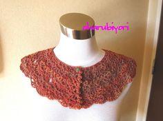 夕焼けのような段染め糸のつけ襟です♪毛100%|ハンドメイド、手作り、手仕事品の通販・販売・購入ならCreema。