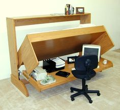 Furniture, Inspiring Light Oak Wood Unique Murphy Bed With Wheel Black Computer Also Computer Desk For Cool Bedroom Design And Decoration: Unique Murphy Desk Design for Neat Room Ideas