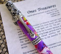 Victorian Pen, twist pen, pens, Hand turned pen, Exotic pen, Rainbow Acrylic, Custom pen, turned pen. by Onestreasures by onestreasures on Etsy