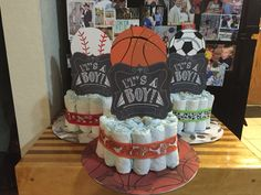All-star sports baby shower cakes