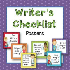 Writer's checklist posters! Bright kid themed posters help your students stay focused when writing. $