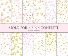 Confetti digital paper Gold and pink by DigitalCSPrintables