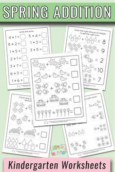 Free PrintableSpring Kindergarten Addition Worksheets #kindergartenmath #kindergartenworksheets #worksheetsforkindergarten
