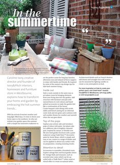 In the summertime ~ Top tips to embrace the hot summer trends at the heart of your home and garden. #locallife #shoplocally #homes #gardens #summer #trends #Petersfield #Hampshire