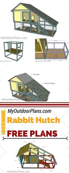 Check out free plans for building this rabbit hutch with run, so you can grow these furry animals in your backyard. Step by step instructions and diagrams for building a large bunny house at: MyOutdoorPlans.com #diy #rabbit