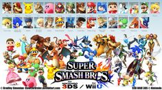 Great promotional poster made for Smash Bros 4.  In here, all character's official artwork and 3D models are present as they will be in the Wii U version of the game.  The logo fitting in the middle works great and really hypes up the game.  The shadows that the characters all leave look really cool, but could use more detail instead of just being circular for the most part.