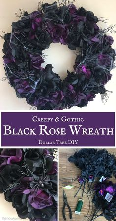 Creepy and Gothic Black Rose Wreath - Dollar Tree DIY - Spooky Halloween Wreath This black rose wreath is gothic, creepy and spooky, perfect for Halloween! This easy DIY wreath comes together freaky fast, and won't scare your budget! Theme Halloween, Spooky Halloween, Diy Halloween Decorations, Diy Halloween Wreaths, Dollar Tree Halloween Decor, Halloween Stuff, Halloween Halloween, Halloween Crafts To Sell, Halloween Deco Mesh