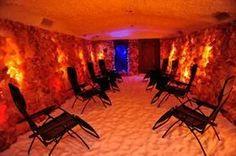 Himalayan Salt Cave.14 Tonnes of pure salt inside this room. Sweet! Salt therapy <3