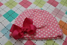 Pink Polka Dot Baby Beanie with Boutique Bow by gentryscloset, $12.00