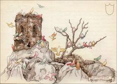 Anton Pieck Efteling: gekleurde duiven werken aan Genoveva's bruidsjurk