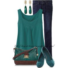 Love turquoise/teal. Could see wearing this with maybe a white sweater to work. Cute flats, too.