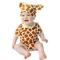 Amazon.com: 2pc Bodysuit and Hat Set - (GIRAFFE) Animal Prints Funky Baby Clothes: Baby