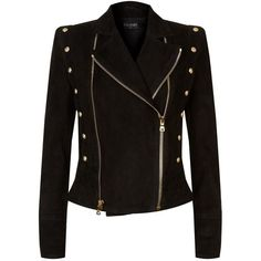 Balmain Double Zip Suede Jacket (£2,633) ❤ liked on Polyvore featuring outerwear, jackets, zipper jacket, suede leather jacket, quilted jacket, long sleeve jacket and suede jacket