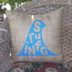 Surfing Burlap Pillow now featured on Fab.