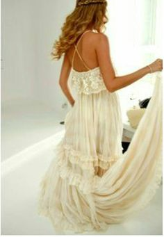 Bohemian Style Wedding Champagne Court Train Dress by LeCasaDress