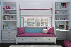 Window seat in the children's room white, built-in wardrobes