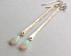 Ethiopian Opal Dangle, Gold Bar Earrings, Opal Earrings, Gold Stick, Rainbow, Minimalist, Long Dangle, Bridal Jewelry
