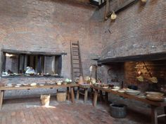 Medieval kitchen Gainsborough Old Hall has one of the best medieval kitchens in the country, seen here are one of the two vast fireplaces and the servery
