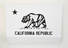 Gallery Wrapped GRAY CALIFORNIA Flag - Linen Cotton Canvas - Home Decor, Chic Decor, Patriotic, Office Decor, Gift, Man Cave