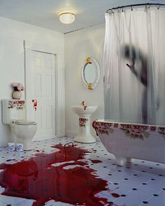 i awoke to blood--everywhere. i followed the trail to the bathroom, and walked in. the tiles seemed to be spilling over with blood, when in reality the blood was spilled onto them; when i threw back the curtain to see him, still fully clothed, the showerhead raining water down him, mixing with blood, i knew what he'd done. and my lungs felt like they'd been blocked off with concrete the moment i noticed his hair was now white.