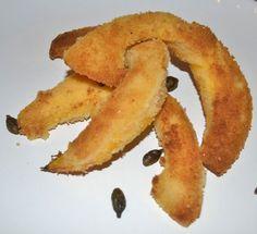 Kürbisschnitzel Snack Recipes, Snacks, Zucchini, Chips, Peach, Banana, Fruit, Food, Schnitzel Recipes