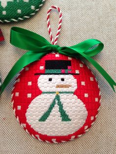 Snowman Ornament ~ canvas by Melissa Shirley