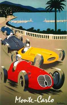 Formula 1 racing at Monaco in the old days. The cars really looked like this th… Früher in Monaco in der Formel Die Autos sahen damals wirklich so aus. Retro Poster, Art Deco Posters, Car Posters, Poster Ads, Vintage Travel Posters, Car Art, Auto Motor Sport, Monaco Grand Prix, Photo Vintage