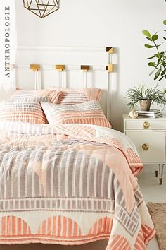 The striped geo quilt is a great block printed pattern that will tie any bedroom together. Muted colours make this the perfect addition to any dull room.