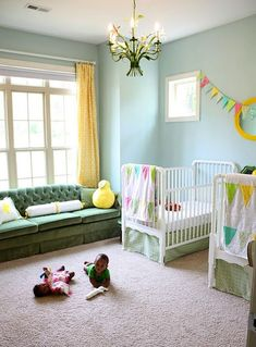 Love this room for a little boy & girl - decorated before the parents knew which gender they were adopting. So cute!